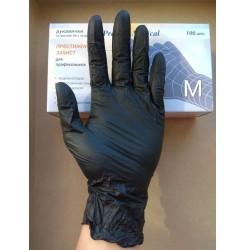 Перчатки нитриловые Prestige чёрные ,100 шт в упаковке, размер M