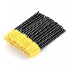 Щеточки для бровей и ресниц / черная ручка - желтый ворс