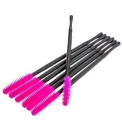 Силиконовые розовые щёточки для бровей и ресниц 6 шт