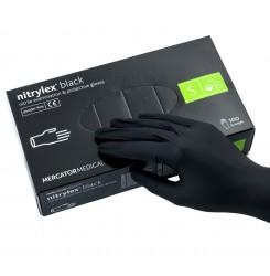 Перчатки нитриловые Nitrylex черные,100 шт. в упаковке, размер S