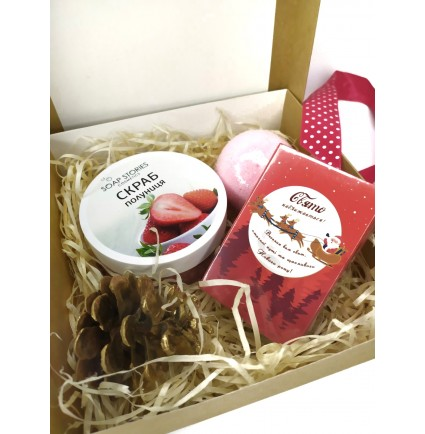Набор подарочный (Скраб в баночке + бомбочка + мыло с высказыванием) soap stories BOX #2