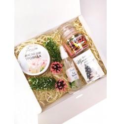 Набор подарочный (Масло Ши + свечка + гидролат розы + мыло с высказыванием) soap stories BOX #4