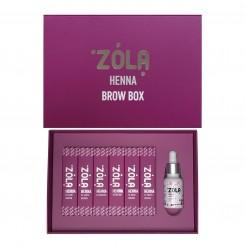 Набор хны для бровей ZOLA 6 шт + масло (хна по 5 г)