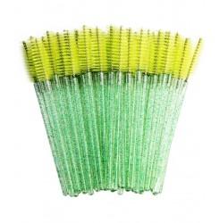 Щеточки для бровей и ресниц ворсистая / зеленая с блёстками