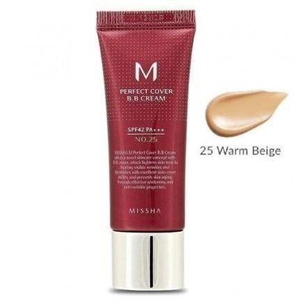 Тональный крем Missha BB-крем M Perfect Cover №25 теплый беж, 20 мл