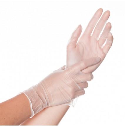 Перчатки виниловые ПРОЗРАЧНЫЕ, размер M (пара, 2 шт)