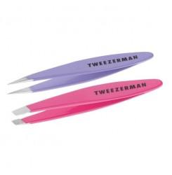 Набор пинцетов для бровей Tweezerman (скошенный + точечный) / МИНИ (фиолет + розовый)