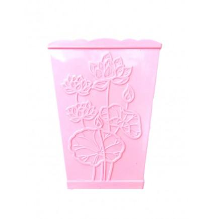 Подставка для кистей квадратный стаканчик / с рисунком цветы розовая