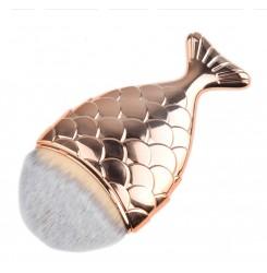 Кисточка маникюрная для удаления пыли русалка / золото, маленькая