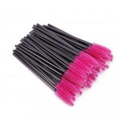 Щеточки для бровей и ресниц / черная ручка - малиновый ворс