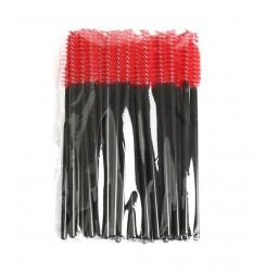 Щеточки для бровей и ресниц / черная ручка - красный ворс