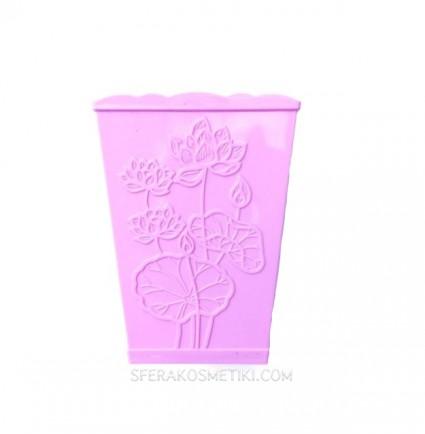 Подставка для кистей квадратный стаканчик / с рисунком цветы фиалка