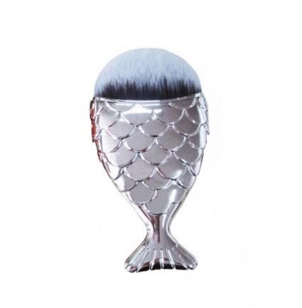 Кисточка маникюрная для удаления пыли русалка / серебро, большая