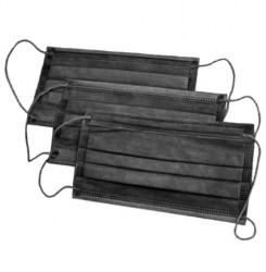 Маска медицинская черная трехслойная, на резинке 5 штук = 15 грн