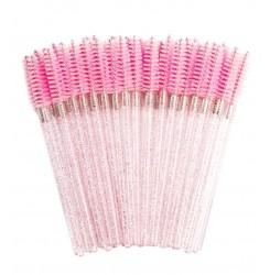 Щеточки для бровей и ресниц ворсистая / розовая с блёстками