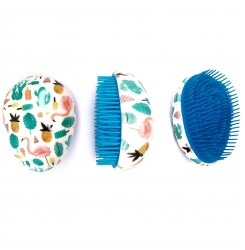 Расческа для волос маленькая овальная / фламинго