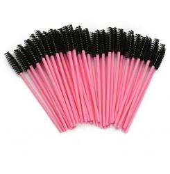 Щеточки для бровей и ресниц / розовая ручка - черный ворс