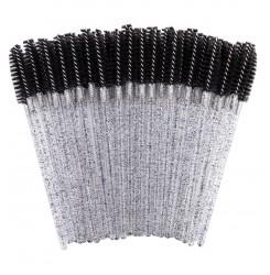 Щеточки для бровей и ресниц ворсистая / черная с блёстками