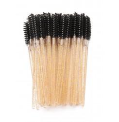 Щеточки для бровей и ресниц / черный ворс - блестки золото ручка