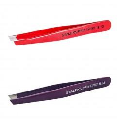 Пинцет для бровей Сталекс Staleks EXPERT 11/3 красный или фиолет