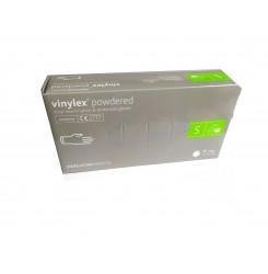 Перчатки виниловые Vinylex 100 шт в упаковке, размер S / С ПУДРОЙ, прозрачные