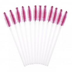 Щеточки для бровей и ресниц / белая ручка - розовый ворс