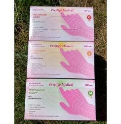 Перчатки нитриловые Prestige розовые ,100 шт в упаковке, размер S