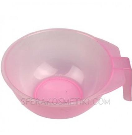 Мисочка для окрашивания волос розовая с ручкой