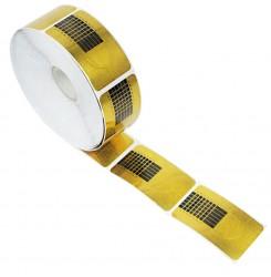 Формы для наращивания ногтей узкие 500 шт в рулоне / золотые
