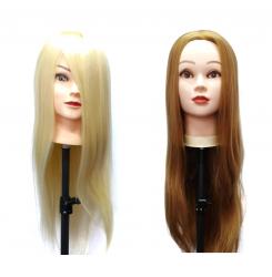 Голова манекен учебная (болванка) искусственные волосы / блондинка или русая 60-70 см