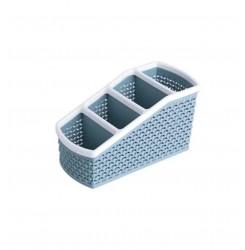 Органайзер для хранения кистей и косметики на 4 отдела / синий тауп (узкий малый)