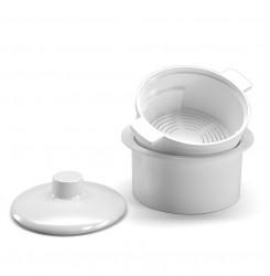 Контейнер для стерилизации фрез пластиковый белый / круглый с ручками