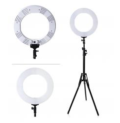 Лампа кольцевая LED, 48 см, 80W с штативом / белая