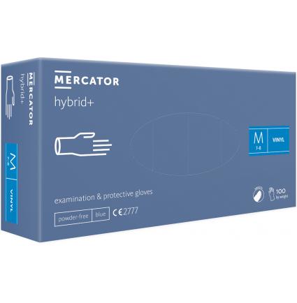 Перчатки виниловые Vinyl MERCATOR hybrid+ 100 шт в уп, размер М / голубые