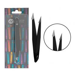 Пинцет для бровей ручной заточки скошенный черный Innovator Cosmetics / форма бошмачек