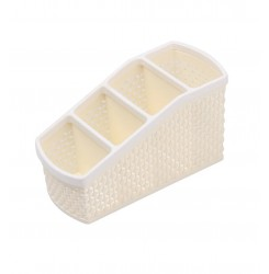 Органайзер для хранения кистей и косметики на 4 отдела / молочный (узкий малый)