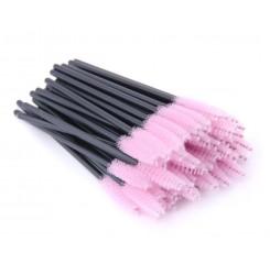 Щеточки для бровей и ресниц / черная ручка - бледно-розовый ворс
