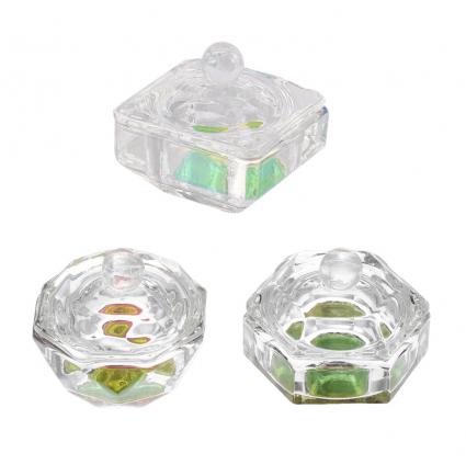 Стаканчик стеклянный с крышкой, разные формы / хамелеон