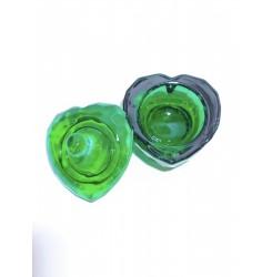 Стаканчик стеклянный с крышкой / сердце зелёное